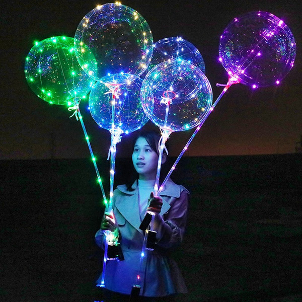18 Inch Clear Luminous Led Balloons Transparent Color Bubble Flashing Light Up Balloon with 70cm stick Wedding Party Decorations Ballon