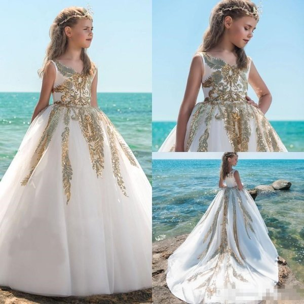 2018 Spring Gold Sequins Ball Gown Flower Girls Dresses For Weddings V Neck Baby Girl Birthday Party Gowns Cheap Kid First Communion Dresses