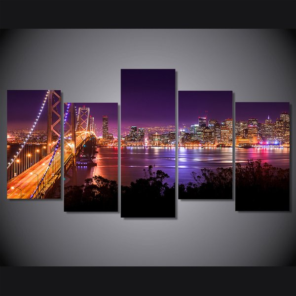 5 Pcs/Set san francisco Night Bridge HD Printed Wall Art Pictures Canvas Paintings For Living Room Home Decor