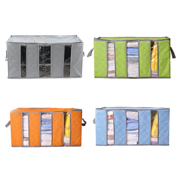 65L Large Storage Case Closet Organizers Clothing Quilt Packing Bedding Container Box non woven Folding NNA797 60pcs