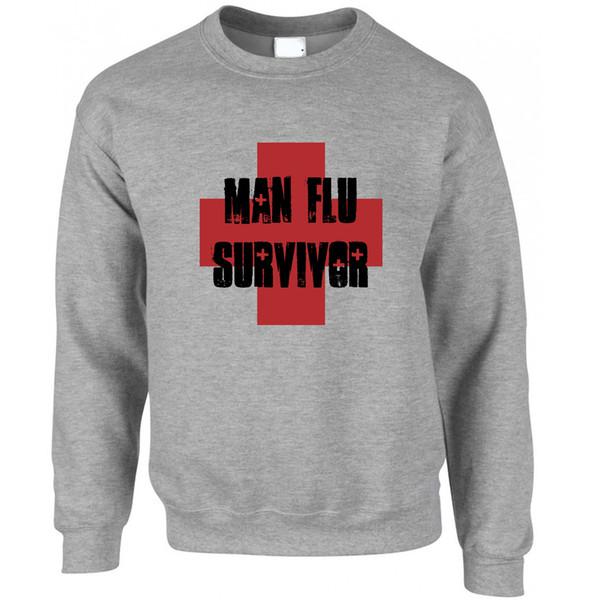 Man Flu Survivor Novelty Graphic Slogan Printed Design Joke Funny Jumper Sweater