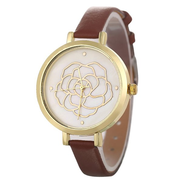Gold Flower Shiny Dial Narrow Strap Classic Luxury Fashion Leather Cheap Sport Women Quartz Watch for Dropshipping