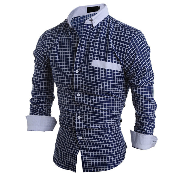 Business Casual Plaid Shirt Male Spring Wear Long Blouse Young Men Office Plaids Tops Tide Boys New Outwear Shirts 2018 Hot Sale