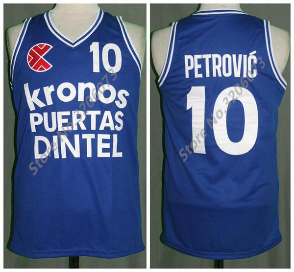Drazen Petrovic Basketbol Forması Mens Nakış Dikişli Euro Retro Özel herhangi numarası ve adı Formalar