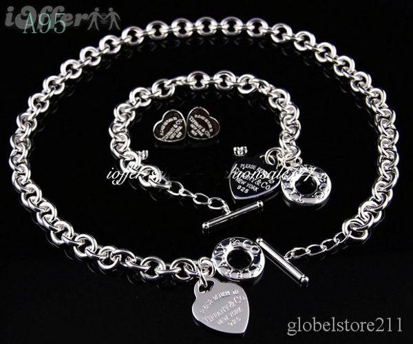 VENTE 2018 Nouveau Designer Brand New Mode tiffany925 bijoux en argent colliers et bracelets + boucles d'oreilles A95 cadeau avec boîte chaude