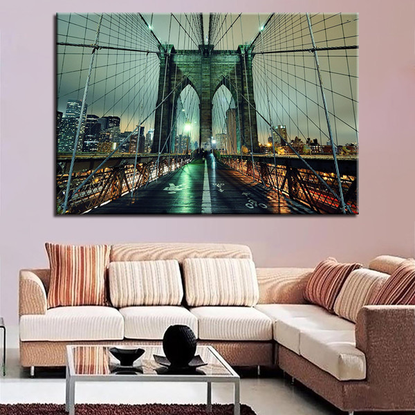 Canvas HD Prints Pictures Wall Art For Living Room Home Decor 1 Piece/Pcs Brooklyn Bridge Painting Nightscape Poster Framework