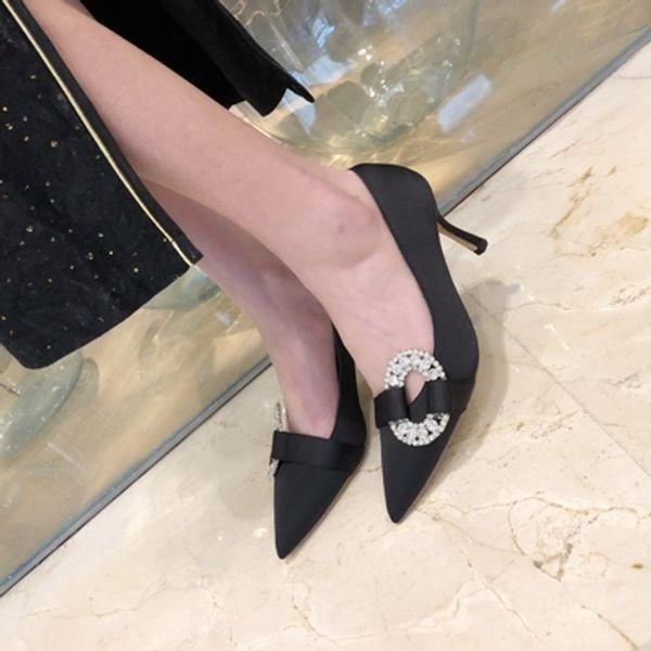 brand name ponited toe round diamond silk banquet stiletto heels women bride dress shoes size 34-39 396