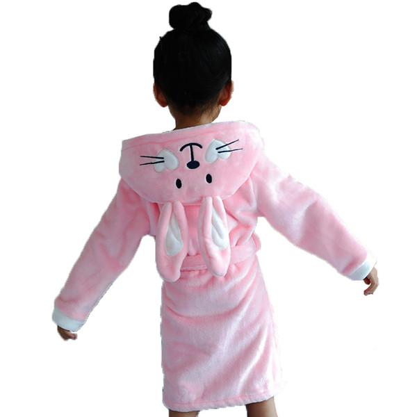 Girls Teenager Bathrobe Children Bath Robe Baby Long Sleepwear Homewear Boutique Kids Pajamas Animal Rabbit Princess Nightgown