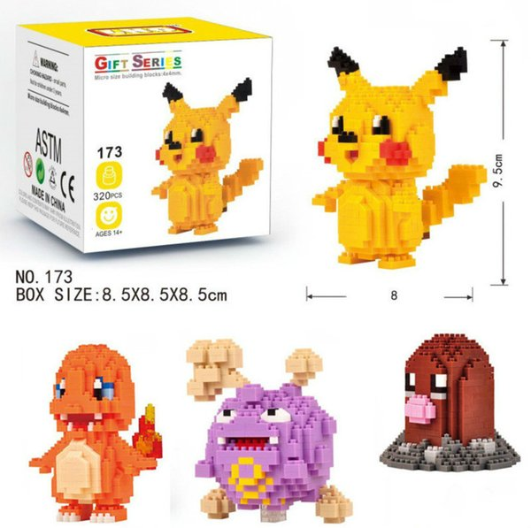 top popular 12 models Figures LOZ DIAMOND BLOCKS Toy Pikachu Charmander Bulbasaur Squirtle Charizard Eevee Child Christmas gift Anime Building Blocks 2019