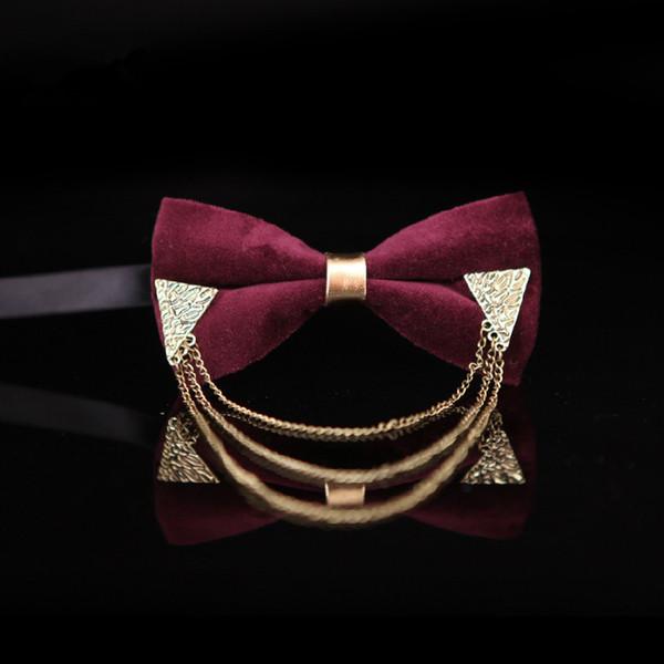 2018 men women fashion high-end luxury velvet metal chain bow tie red wedding neck ties bowtie noeud papillon homme pajaritas