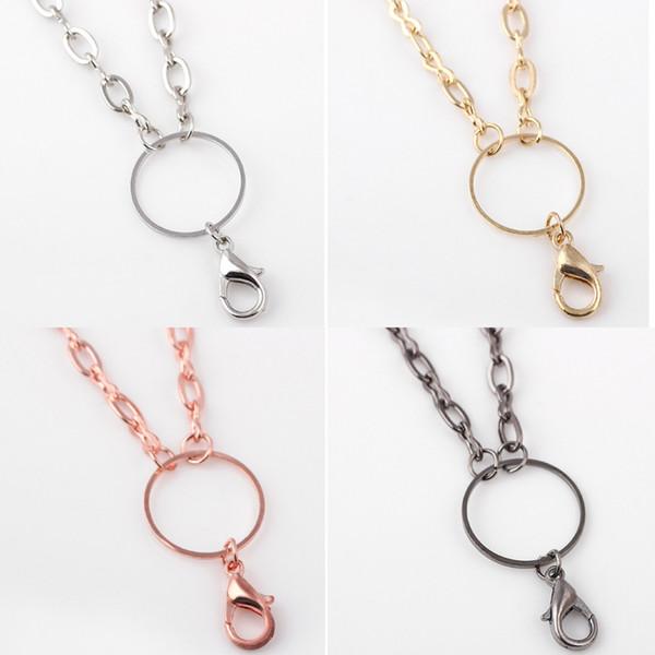 Envío gratis más nuevo joyas de bricolaje collar cadenas oro plata rosa oro pistola negro cadena de enlace de vidrio memoria viva medallón flotante