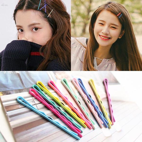 AOMU 50Pcs/Lot Hair Clips Colorful Black Metal U-shaped Hairpins Barrette Women Girls Wavy Threaded Shape Hair Accessories