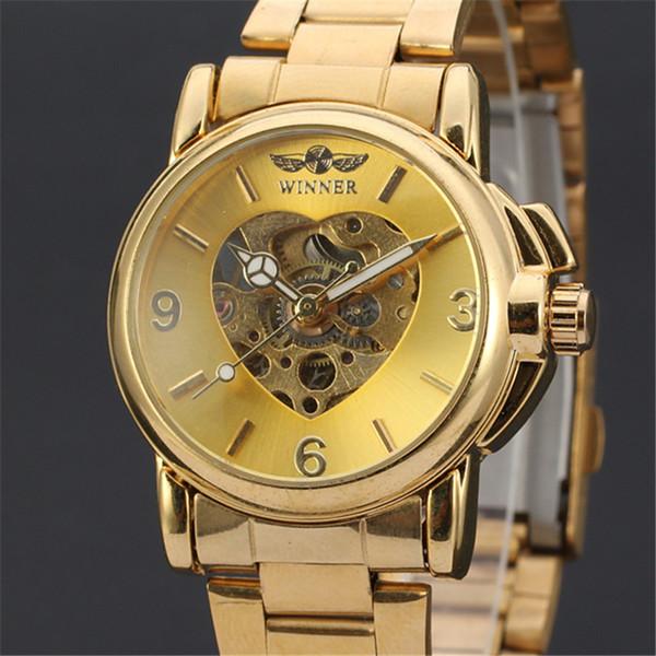 GANADOR Mujeres Relojes Reloj Mujer Top Marca de Lujo Relojes de Oro Correa de Acero Mecánico Automático Esqueleto Reloj de Señoras Caliente 157 D18100706