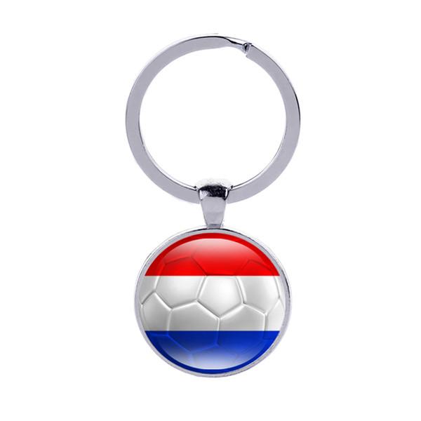 Netherlands Flag Football Keychains Ghana Latvia Honduras Glass Cabochon Car Key Bag Accessories World Cup Countries Flags Keyring Wholesale