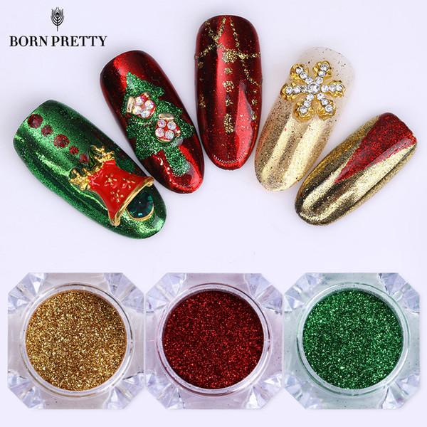 3 boîtes de Noël série Nail Glitter Powder Set Miroir Coloré Poussière Chrome Pigment Poudre Manucure Nail Art Décorations