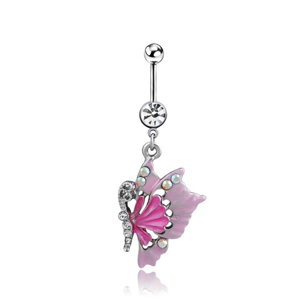 2016 new Charm ing Body Piercing Jewelry Medical Steel Umbilical Butterfly Shaped Nail Belly Button Ring pink Colors 1068