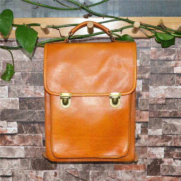 New high-end design 2018 real cowhide fashion popular backpack retro tree plaster travel bag vegetable tanned old shoulder bag fast delivery