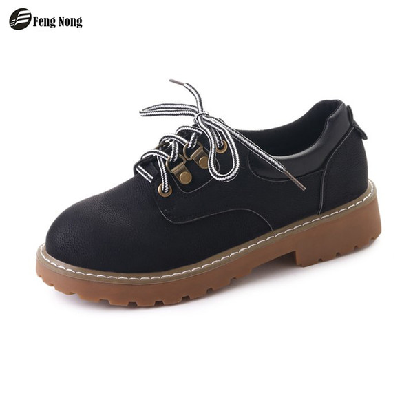 Fengnong Classical Women Mature Boots Lace Up Anti-skip Cute Simple Ankle Smart Shoes Girl Soft Leather For Autumn Boots WBT122
