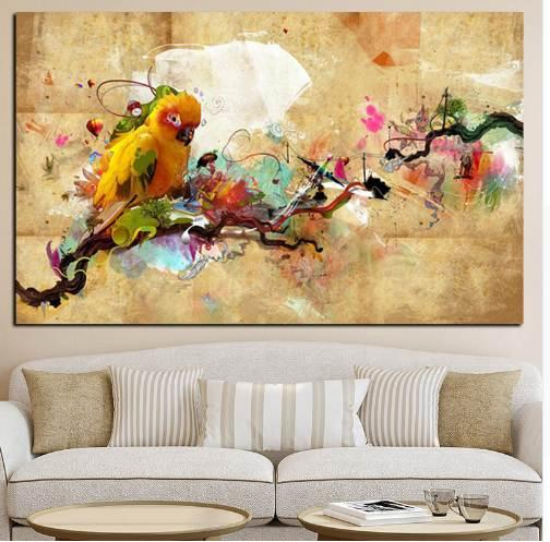 Abstract Artistic Paint Parrot Bird Oil Painting on Canvas Poster and Print Modern Wall Picture for Living Room Cuadros Decor