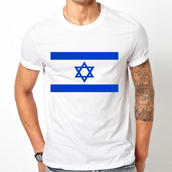 2444ce0a86 2018 novo verão outono moda masculina de manga curta Bandeira do Estado de Israel  T-