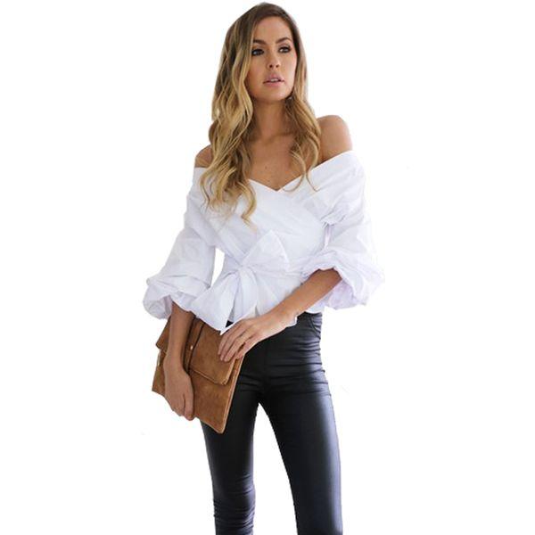 Camicia a maniche lunghe con scollo a V Sexy Camicetta a sbuffo Camicetta estiva estiva Camicetta Top Tops Tunica Donna Blusas Streetwear Lady Shirt