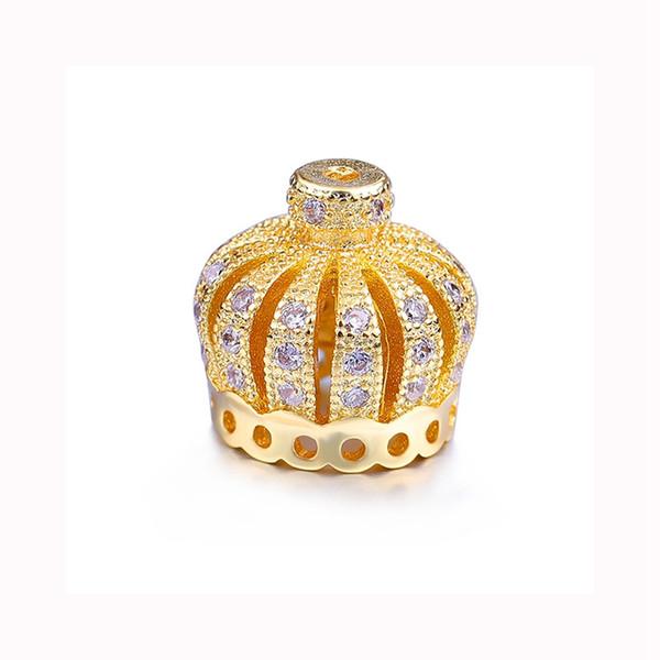 Jewelry Making Supplies Micro Pave Zircon Copper Accessories 10mm Crown Tassel Cap Pendant DIY Tassel Earrings Necklace Findings Wholesale