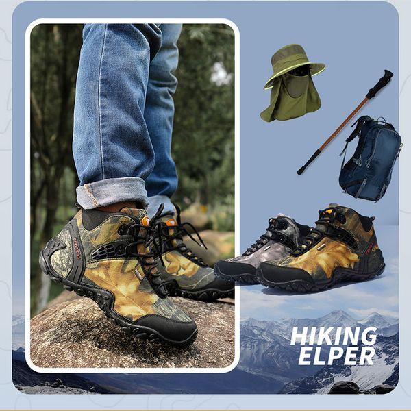 Hombres zapatos impermeables para caminar, botas de trekking atléticas, zapatillas negras, zapatos de escalada para caminar, zapatillas de deporte transpirables para caminar al aire libre, botas 40-46