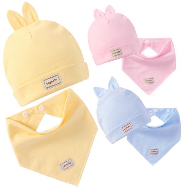 Baby Bibs Elastic Baby Bibs Double Layers Pure Cotton Baby Caps With Saliva Towel Set Infant Burp Cloths