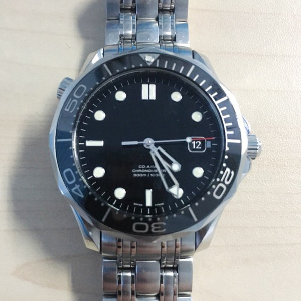 Luxury Stainless Steel Mens Professional 300m 1000ft James Bond 007 Blue Black Dial Mechanical Automatic Wristwatch