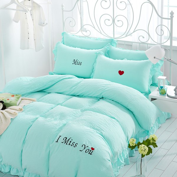 Free Shipping 4Pcs/Set Miss Embroidery Washed Cotton Bedding Sheets Comforter Duvet Cover Sheet Sets Bedclothes Bed Linen