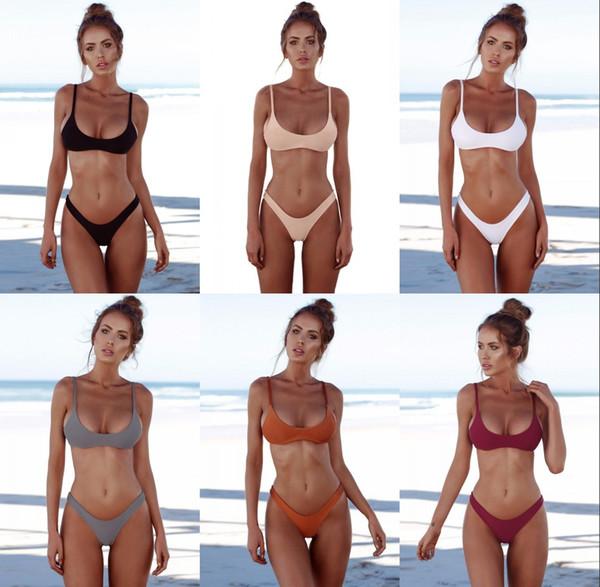 top popular New Solid Thong Brazilian Bikini 2 Piece Set Sexy Swimwear Women Plus Size Swimsuit Halter Bikini Set Simple Bathing Suit RF0785 2020