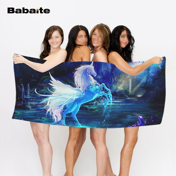 Babaite Unicorns Fantasy Luxury Bath Towel Super-absorbent Beach Towels Soft Microfiber Environmental Printing Sports Towels