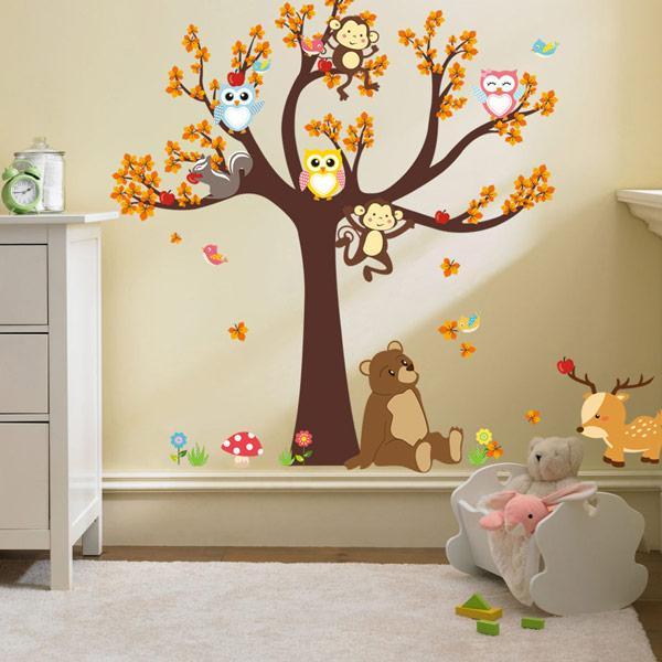 Belle Ours Autocollant Mural Hiboux Singe Amovible Art Vinyle Mural Maison Pépinière Bébé Enfants Chambre Décor