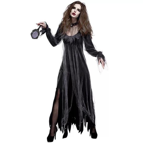 Disfraz de vampiro Zombie Halloween Horror gótico Halloween para mujer Disfraz de fantasma horrible negro Scary Clothing para mujer