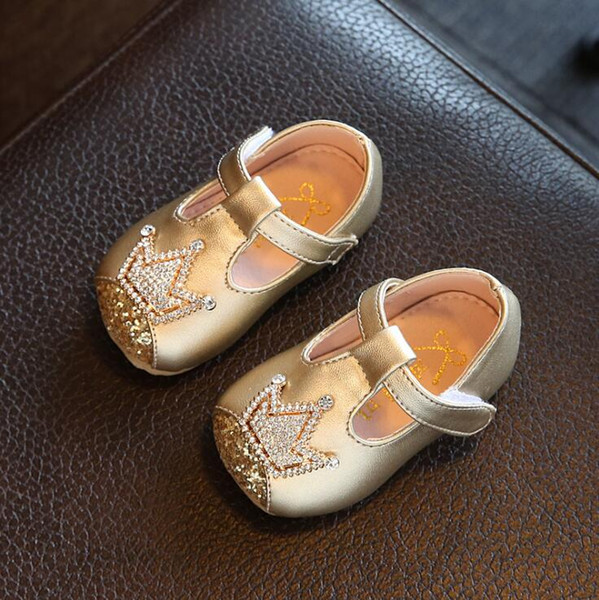 Inside length 11-15cm female baby Princess shoes 2018 autumn diamond baby girls shoes 0-1-2 year old girls leather