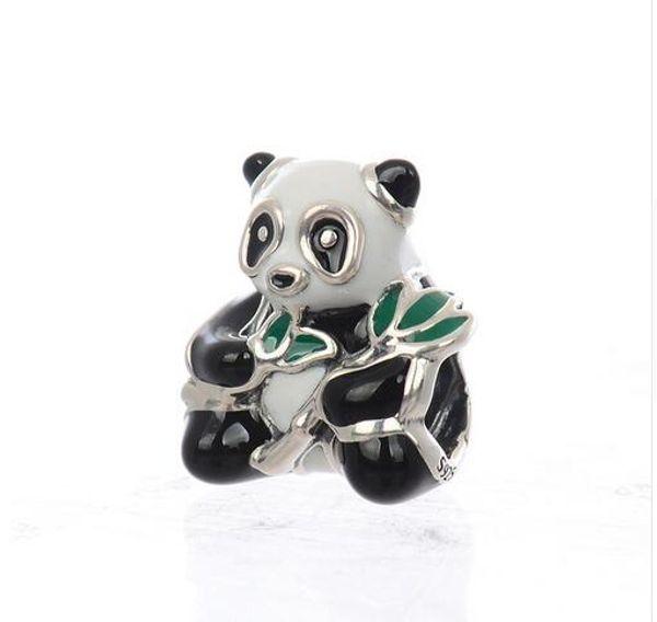 Authentic 925 Sterling Silver Jewelry Panda Doce, Mixed-esmalte Moda Encantos Beads Fits Original Pandora Pulseiras
