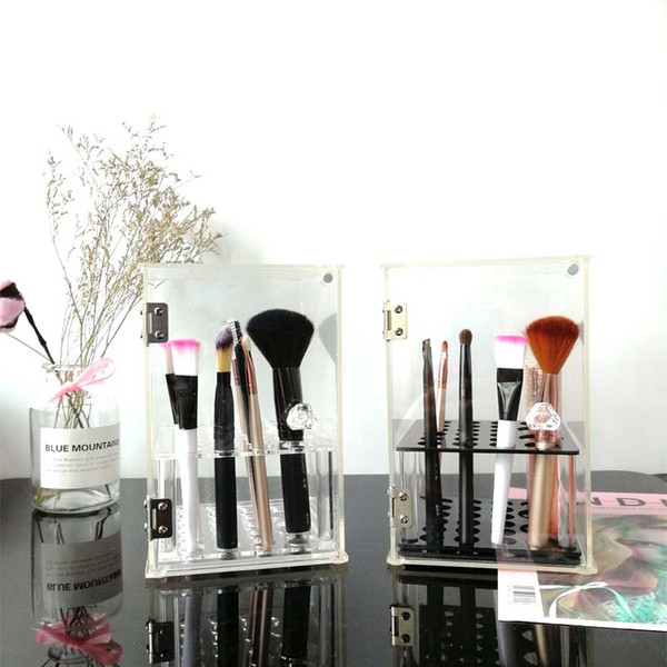 Crystal Acrylic Makeup Brush Organizer Cosmetic Storage Box Makeup Tool Flashing Pencil Holder Lipstick Organizer Case
