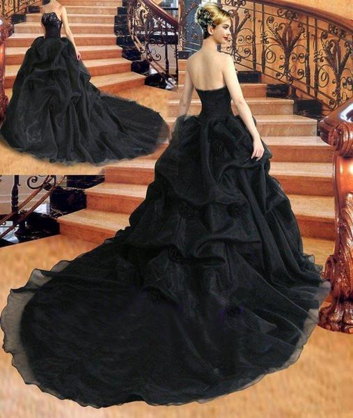 Gothic Black Ballkleid Brautkleider 2018 Trägerlos Perlen Drapiert Ärmellos Lace Up Korsett Zurück Brautkleid Gericht Zug