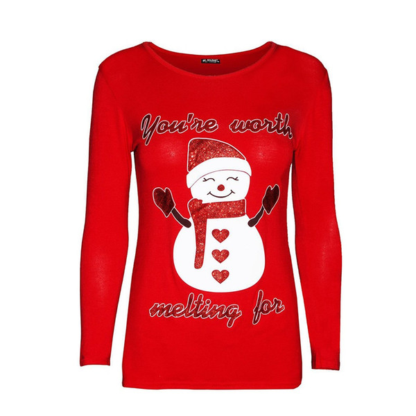 Christmas Tops For Women.Women Snowman Print Christmas Tops Fashion Female O Neck Long Sleeve Pullover Casual Ladies Plus Size T Shirt Chemise Femme Tee Shirts Funny Tee Shirt