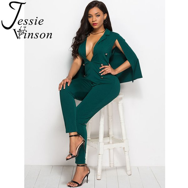 Jessie Vinson Deep V-neck Sexy Jumpsuit with Cape Buttons Black Skinny Rompers Womens Jumpsuits Plus Size Long Pants Overalls