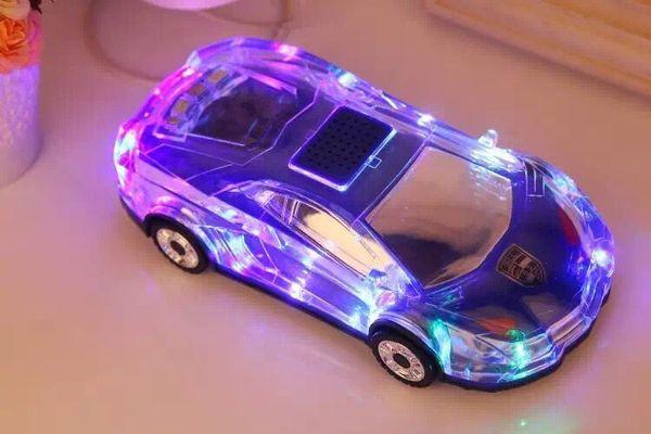 Colorful Crystal LED Light MLL-63 Mini Car Shape Portable Wieless Speaker Amplifier Loudspeaker Support TF FM MP3Music Player
