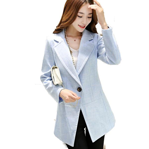 Cape Pink Linen Blazer Jacket Women Spring Woman Slim Fit Blazers Fashion Plus Size Ladies Office Suit Korean Formal Coat X50094