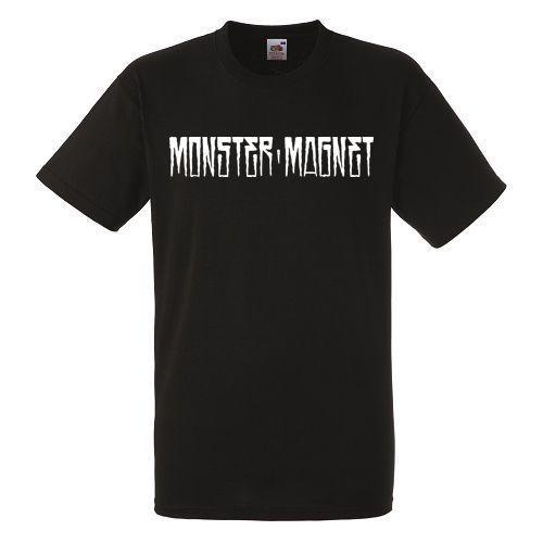 Монстр Магнит логотип черный футболка рок-группа рубашка Heavy Metal Tee топы шею тройники новый короткий рукав основные модели смешно