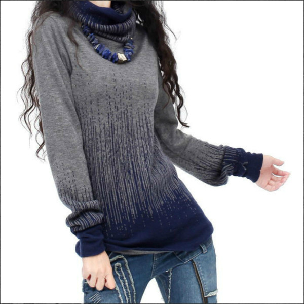 Women's Autumn Winter Cashmere Turtleneck Sweaters And Pullovers Artkas Women Vintage Gradient Knitted Sweater Lady Warm Jumpers S18100902
