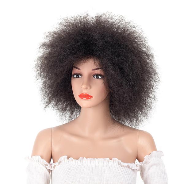 Sintética peluca afro para las mujeres africanas color negro oscuro Yaki recta peluca corta Cosplay Kanekalon SASSY GIRL