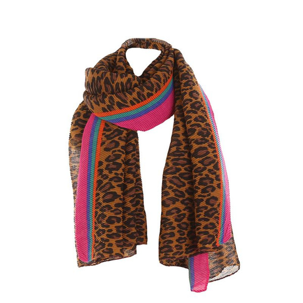 Snood Neck Scarf Fashion Leopard Print Scarfs Pattern Striped Scarves Cotton Linen Scarf Shawl For Spring Autumn Winter Female