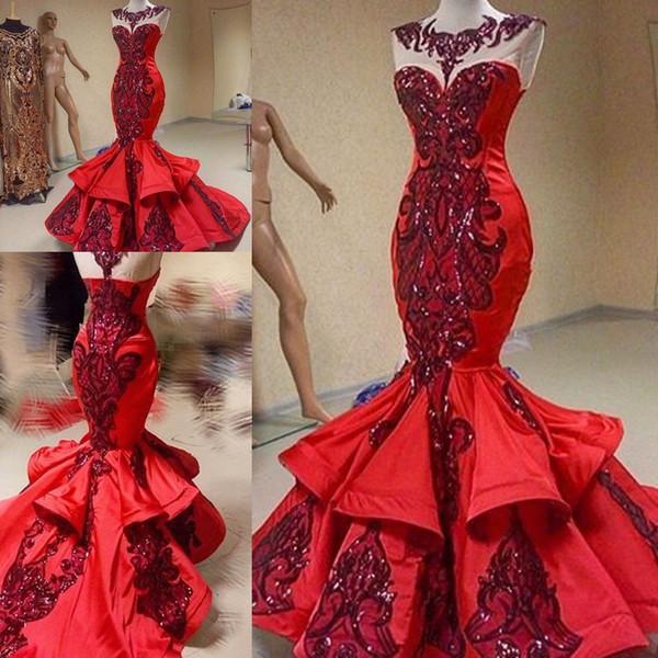Paillettes scintillantes appliques en dentelle sirène robes de soirée 2018 modeste volants jupe queue de poisson Yousef Aljasmi robe de bal rouge de luxe