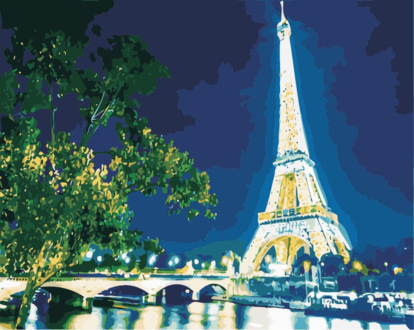 16x20 inches Paris Eiffel Tower DIY Paint On Canvas drawing By Numbers Kits Art Acrylic Oil Painting Frame For Adult
