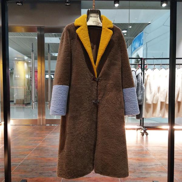 Sheep Fur Coat 2018 Long Coat Women Winter Jacket Real Wool Fur Female Warm Overcoat Multicolor Genuine Sheep Shearing Clothing C18110901