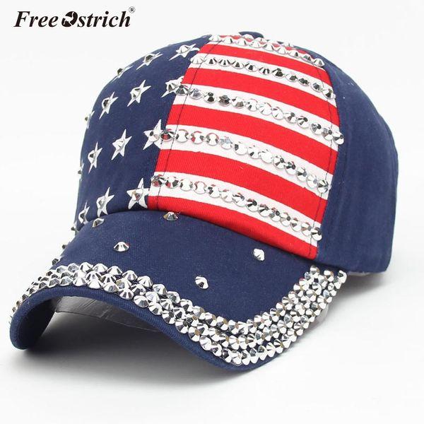 Freier Strauß-Frauen-Kappen-amerikanische Flaggen-Baseballmütze mit Bergkristall 2018 Hysteresen-Hysteresen-flacher Hut gorras para hombre N0